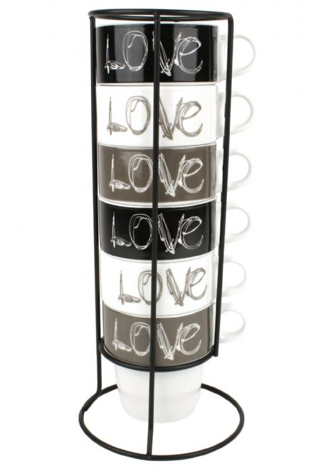 Cappuccino Coffee Cup Set, Love Coffee Mug Tower, Set of 6 Cups and Stand